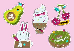 Funny Cartoon Teacher's Reward Sticker Set vector Illustration