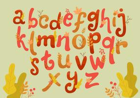 Autumn Hand Drawn Style Lettering Vector Set Alphabet