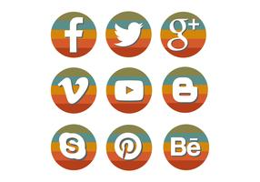 Retro Rainbow Social Media Icon Set