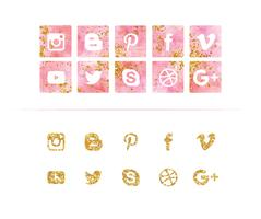 Vector aquarela e Glitter Social Media Icon Set