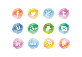 Vector Watercolor Social Media Icons