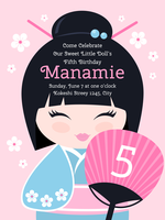 Cute Kokeshi Birthday Invitation Vector Template