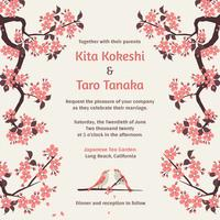 Sakura Wedding Invitation Vector Template