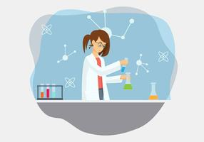 Female Scientist Vector Illustration