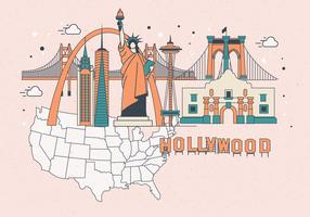 United-states-landmark-map-vector