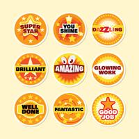 Set of Circle School Award Stickers and Motivational Slogans