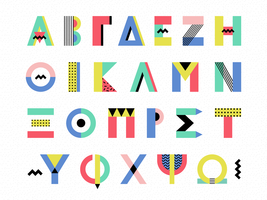 Memphis Style Greek Alphabet Vector Set