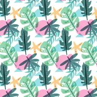 Botanical Pattern With Leaves, Star And Colorful Shapes
