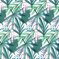 Cute Tropical Pattern Wth Leaves, Branches And Geometric Shapes