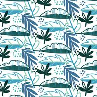 Blue Tropical Pattern With Leaves vector