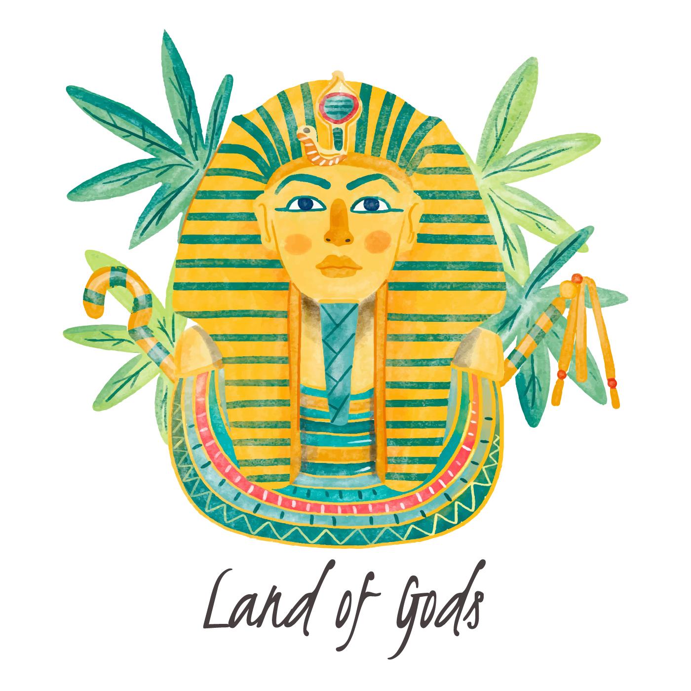 Sarcofagos Egipcios Aquarela Com Folhas Download Vetores Gratis