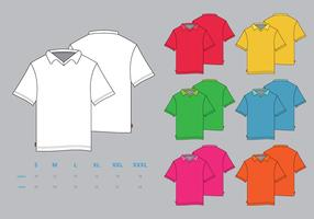 Parte delantera del vector del polo colorido y lado posterior con plantilla de maqueta de tamaño