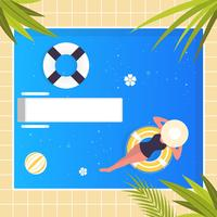 Vector Swimming Pool Sommar Illustration