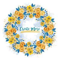 Vector Yellow Rose Wreath