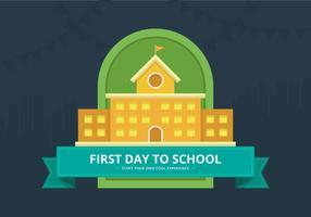 Primeiro dia de volta à ilustração de escola para crianças ou estudante.