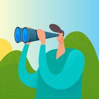 Unique Person Looking In Binoculars Vectors
