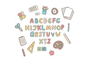 doodled school alphabet