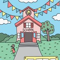 Buntes Gekritzel des ersten Tages der Schule