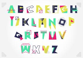 Artistic Colorful Memphis Style Alphabet Vector