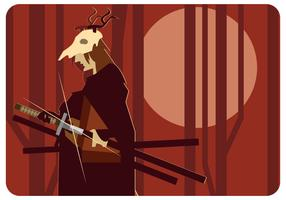 Deer Skull Head Samurai Vector