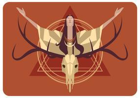 Ciego, mujer, y, ciervo, cráneo, vector