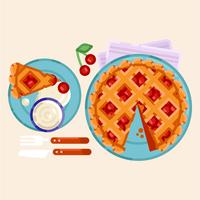 Vector Cherry Pie Illustration