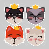 Vector Cute Animals with Crowns