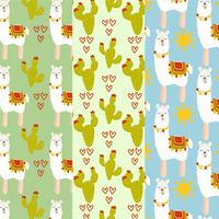 Vector Lamas och Cacti Patterns