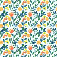 Motif floral dessiné main coloré Vector