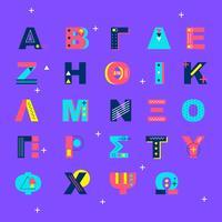 Memphis stijl Griekse alfabet Vector