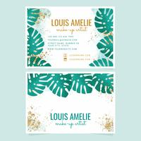 Vector Tropical Leaves Business Cards