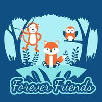 För evigt Vänner Djur Vector