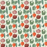 Vector Vegetables Watercolor Pattern