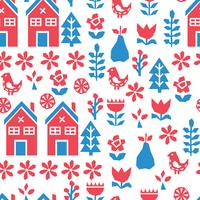 Blue And Red Scandinavian Pattern