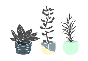 Linocut Succulent Flat Vector Illustration