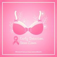 Conciencia del cáncer de mama Redes sociales Vector