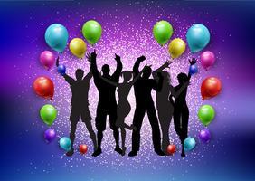 Partij menigte op een ballonnen en glitter achtergrond