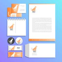 Flat Pet Grooming Corporate Identity Template Vector