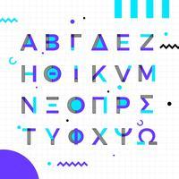Memphis stijl Grieks alfabet