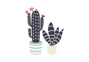 Linocut Potted Cacti