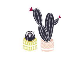 Illustration de cactus de linogravure
