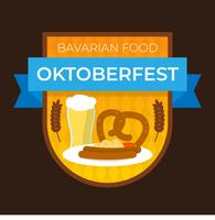 Flat Bavarian Food For Oktoberfest Badge With Gradient Background Vector Illustration