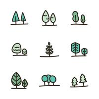 Outlined Bold Doodled Trees