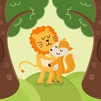 Animals Best Friends Ever Vector Illustration