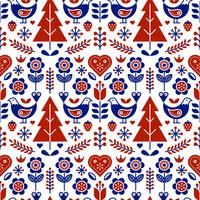 Scandinavian Folk Pattern Seamless Vector