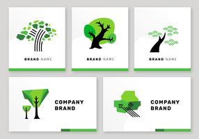 Simple Tree Logo Elements Branding Set Vector
