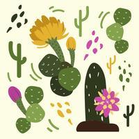 Vetor de Linocut de flor do deserto