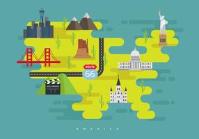 United States Landmark Map with Famous Building or American City Symbol