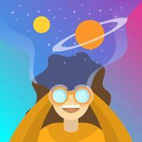 Mujer plana en binoculares con ilustración de vector de fondo degradado