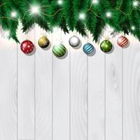 Christmas baubles on wood